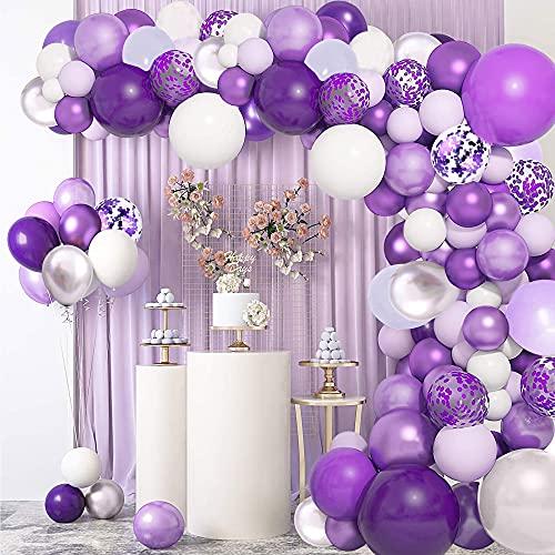 114 Stück Lila Luftballons Girlande Bogen Kit, Helllila Macaron Lila Grau Metallic Lila Silber Lila...