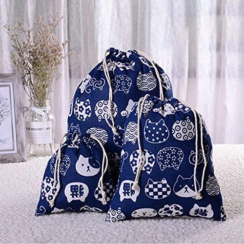 Anno-Patrón geométrico 909102 bolsa de lino con cordón bolsa de regalo de dulces joyería caja de almacenamiento cosmética moneda clave caja