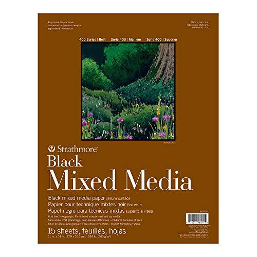 Strathmore 400 Series Black Mixed Media Pad, 11' x 14', 15 Sheets