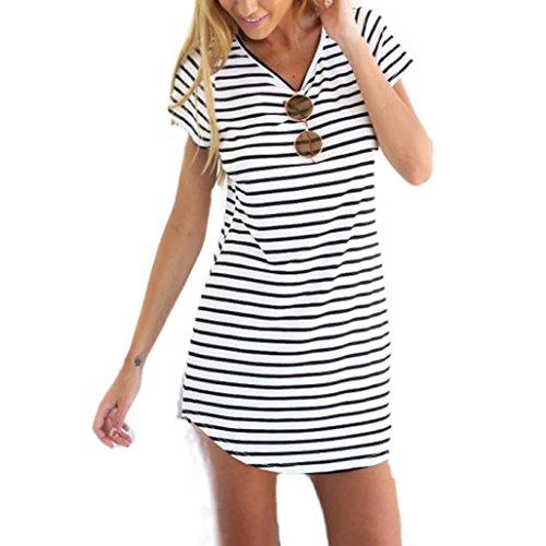 Elecenty Damen Hemdkleid T-Shirt Blusekleid T-Shirtkleid Sommerkleid Kleider Frauen Rundhals Kurzarm Mode Kleid Minikleid Kleidung (S, Weiß)
