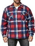 EGOMAXX Camisa térmica para Hombres Transición Chaqueta Leñador A Cuadros Fleece Franela, Color:Rojo, Talla de Chaqueta:XL