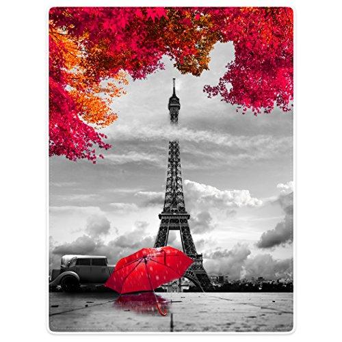Violetpos Coperta spessa in morbido pile di flanella, coperta per divano, coperta Parigi, Torre Eiffel, rosso, ombrello, acero, 150 x 200 cm