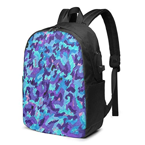 BGDFN Unisex niños 17 ''mochila USB púrpura camuflaje multiusos Daypacks Casual Mens mochila para viajes