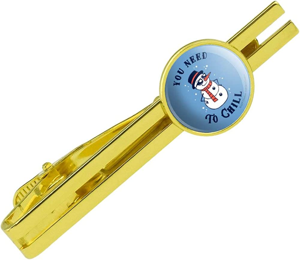 GRAPHICS & MORE You Need to Chill Snowman Funny Humor Round Tie Bar Clip Clasp Tack Gold Color Plated