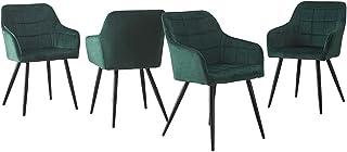 CLIPOP Krzesła do jadalni, zestaw 4 sztuk, kolor zielony, aksamit, krzesło kuchenne, krzesło tapicerowane, styl retro, krz...
