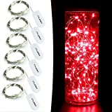 CYLAPEX 6 Pack Red Fairy String Lights Battery Operated Fairy Lights Firefly Lights Micro LED Starry String Lights on 3.3ft/1m Silvery Copper Wire for DIY Christmas Decoration Costume Wedding Party