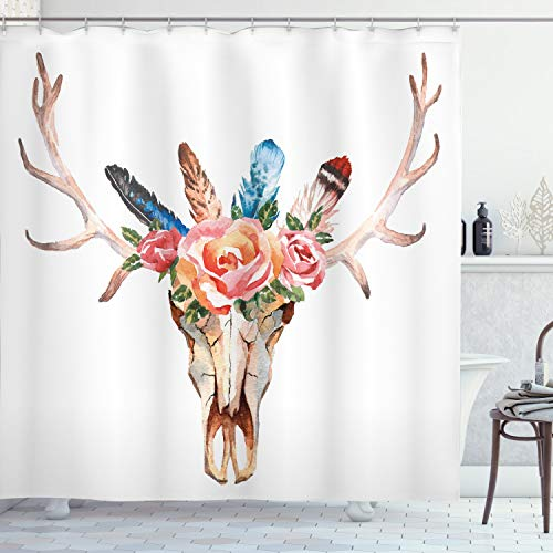 """Ambesonne Antler Shower Curtain, Bohemian Deer Head Skull Ornate with Roses and The Feathers Hand Drawn Art Print, Cloth Fabric Bathroom Decor Set with Hooks, 75"""" Long, Pastel Rose"""