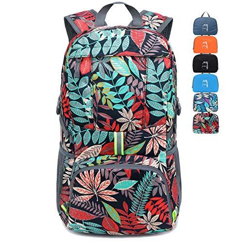 MRPLUM 25L-30L Rucksack Foldable Ultralight Packable Backpack, Unisex Durable Handy Daypack for Travel & Outdoor Sports Durable & Waterproof (Blue leaf)