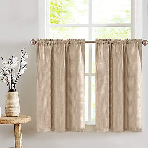 JINCHAN Kitchen Curtains Tier Curtains for Bathroom Waffle Textured Cafe Curtains Half Window Curtain Set for Living Room Bedroom Light Filtering Drapes Taupe Rod Pocket 45 Inch Length 2 Panels