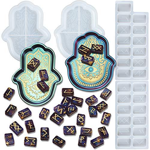 FUNSHOWCASE Hamsa Hand and Rune Stone Epoxy Resin Silicone Molds Set Palm Amulet Dish Jewelry Casting Supplies Length 1.18-6inch