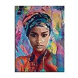 Karen Max Graffiti Chica Africana Impresiones En Lienzo De Póster, Acuarela, Mujer Africana, Arte, Pintura, Pared Imágenes (con Marco,60x90 cm)
