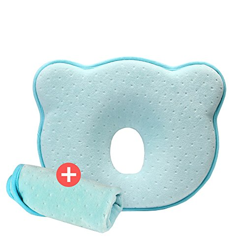 HAMIQI Cuscini per bambini - Prevenire la sindrome della testa piatta di nascita del protettore per il cuscino della schiuma di memoria del neonato (0-12 mesi) (004: Cuscino blu + Federa blu)