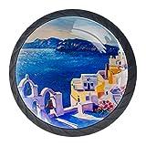 Pomos redondos para cajones, 4 paquetes de 35 mm, tiradores con pintura al óleo de la isla de Grecia, utilizados para dormitorio, aparador, armario, cocina