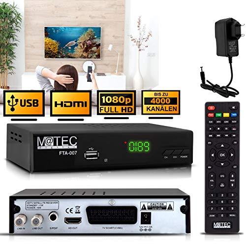 M@tec Digital FTA 007 Digital HD Satelliten Receiver -TV Sat Receiver (HDTV, S/S2, HDMI, SCART, USB 2.0, Full HD 1080p) -Vorprogrammierter Satreceiver für Astra