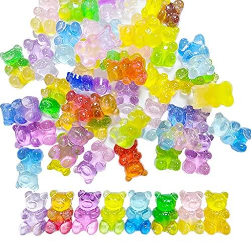 Daimay 50 colgantes de oso lindo dibujos animados llavero colgantes resina oso gomoso caramelo collar oso colorido oso para aretes pulsera DIY joyería - brillante gradiente 3D - colores mezclados