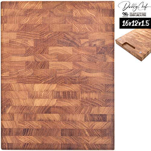 Daddy Chef End Grain Wood cutting board - Wood Chopping block - Large cutting board 16 x 12 Kitchen butcher block cutting board with feet - Kitchen Wooden chopping board (DT 16 x 12)