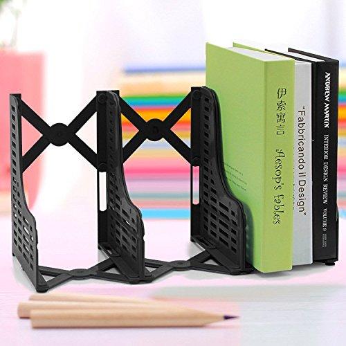 Chris-Wang Adjustable Desktop Bookends/Retractable Plastic Book Stand/Expanding File Rack/Extension Magazine Holder/3 Slot Bookshelf, Library School Office Supply(Black)