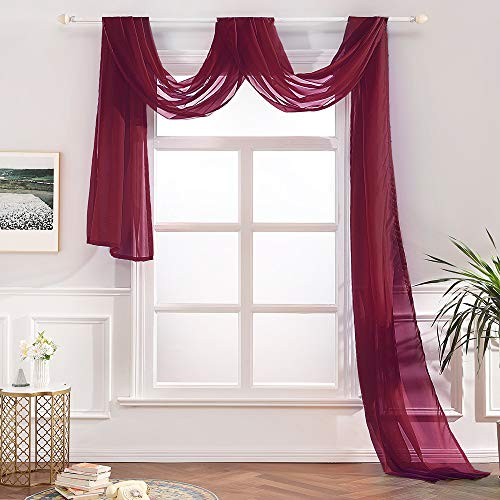"""MIULEE Luxury Window Scarf Sheer Voile Elegant Topper Long Window Valance Solid Window Treatment Swags Drapes for Window Ceremony Wedding Canopy Bed 54"""" x 216"""" Wine Red 1 Piece"""