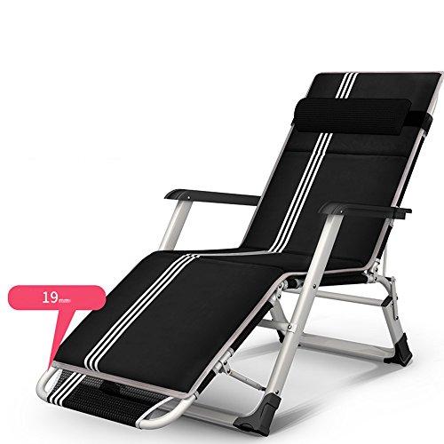 Patio Sun Lounger Garden Textilene pliable inclinable chaise oreiller réglable en plein air inclinable, chaises longues, (Couleur : Noir, taille : B)