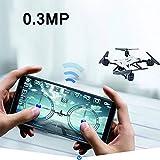 Mini Drone remoto, Quadcopter Pieghevole, Elicottero RC Drone con videocamera HD 1080P WiFi FPV Autoscatto Drone Principiante,Bianca,5MP