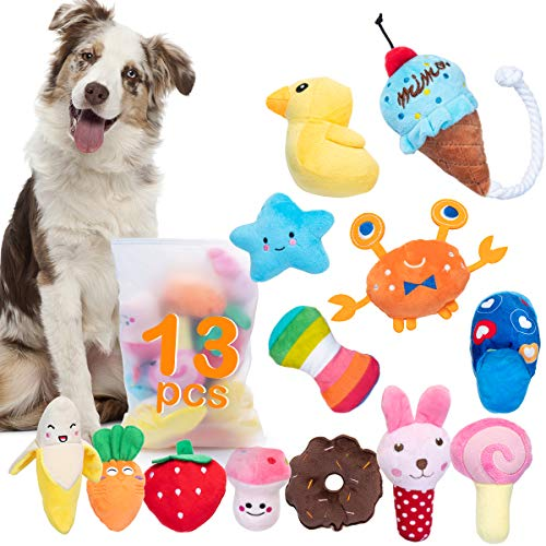 Dono Squeaky Plush Dog Toys-Pet Pack for Puppy Cute Toys Small Stuffed Puppy Chew Interactive Doggie Toys 13 Pack Tooth Grinding & Training Pet Toy Supplies for Medium to Small Dogs
