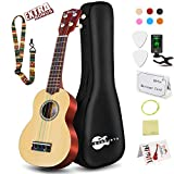 Soprano Ukulele Beginner Pack-21 Inch w/Rainbow String Gig Bag Fast Learn Songbook Digital Tuner All in One...
