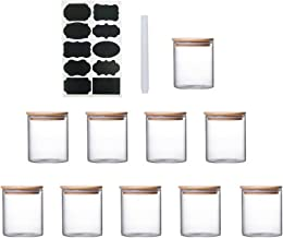 Glass Food Storage Jars Set 10 Pcs Clear Glass Jar with Bamboo Airtight Lids Labels and Pen Storage Containers For Spice T...