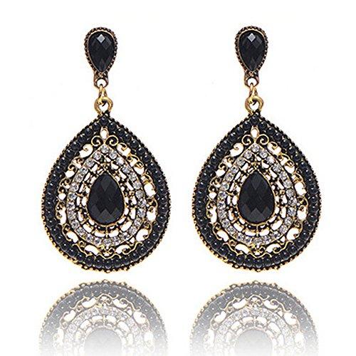 Ni_ka Femme Boucles d¡¯oreilles longues Clous d¡¯oreilles en Argent 925 Perles Cercle Bordées Boucles d'oreilles Boho Bijoux de mode en argent sterling 925 pour les femmes (E)