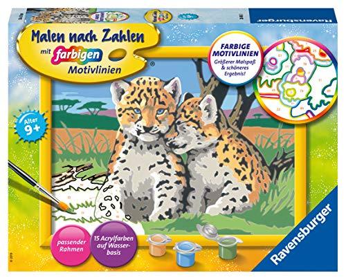 Ravensburger Malen nach Zahlen 28486 - Kleine Leoparden - Für Kinder ab 9 Jahren