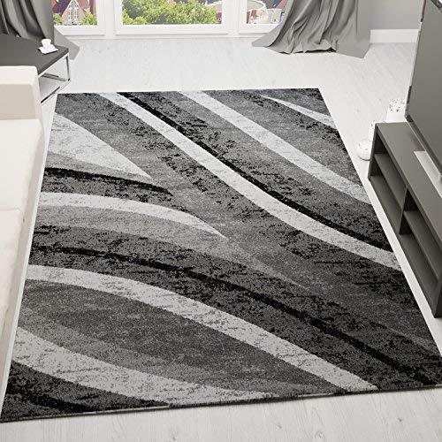 VIMODA Teppich Modern Wohnzimmer Stilvoll Gestreift Kurzflor in Grau Weiss sehr Pflegeleicht, Maße:160 x 230 cm