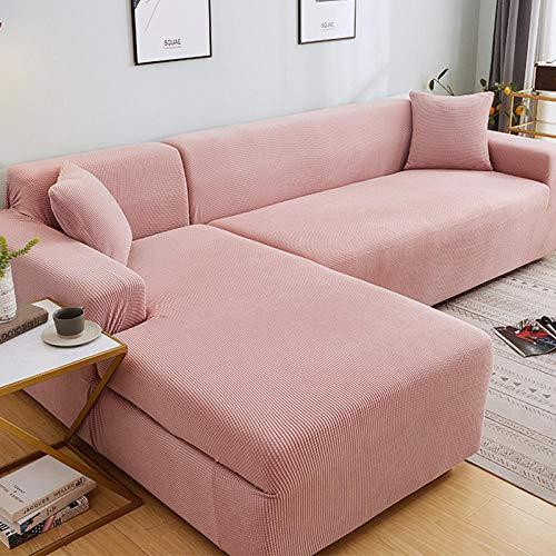 Fundas Decorativas para Sofás 2 plazas y 3 plazas, Juego de Funda de sofá de Esquina de Color sólido para Sala de Estar, Fundas de sofá elásticas, Toalla de sofá elástica, sofá en Forma de L