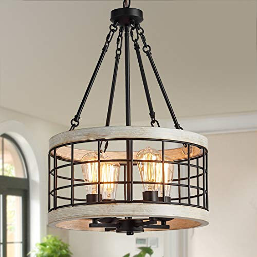 TZOE White Oak Wood Color&Black Metal Finish 4-Light Chandeliers for Dining Rooms,Farmhouse Drum Chandelier,Rustic Small Pendant Light