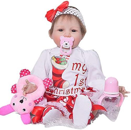 ZXKS Wiedergeburtspuppe 55cm Weißhes Silikonmaterial gesunde harmlose Simulation Baby Wiedergeburtspuppe,brauneyes