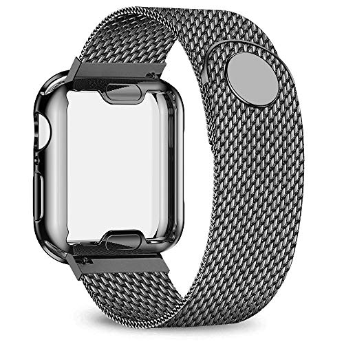 jwacct Stainless Steel Bands Compatible with Apple Watch Band 44mm- with Full Screen Protector for iWatch Series 4/5 - Adjustable Metal Magnetic Strap in 8 Classy Colors (Space Gray)