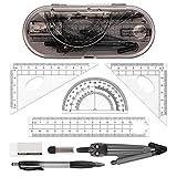 8 Piezas Juego de Reglas,Compas de Dibujo Maths Kit para...