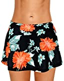 Dolamen Women Swim Skirt Shorts, 2018 Ladies Girls Swimwear Bottoms with Brief Short Skirted Mini Bikini Swimming Costumes Swimsuit Beachwear (Large, Blackflowers)