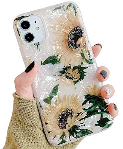 Qokey Compatible with iPhone 11 Case 6.1 inch 2019 Cute Slim Fit Ultra Thin Sparkle Bling Crystal Clear Soft Bumper Lightweight TPU Silicone Anti-Scratch Phone Cover for Girls Women Sunflower