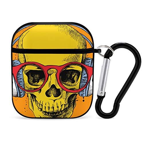 Funda para Airpod, color negro, póster con un retrato de calavera, con auriculares y gafas en estilo Pop Art 1, portátil y a prueba de golpes, accesorios para Airpods 2 y 1 con llavero