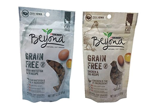 Purina Beyond Grain Free Natural Cat Snacks, Bundle Set of 2 Flavors (Chicken & Egg Recipe, Ocean Whitefish & Egg Recipe, 2.1 oz Each)