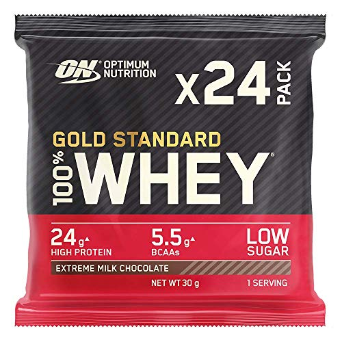 Optimum Nutrition Gold Standard Whey Muscle Building and Recovery Protein Powder With Naturally Ocurring Glutamine and Amino Acids, Extreme Milk Chocolate, Pack of 24, 24 x 32 g, Packaging May Vary