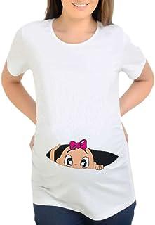 Harpily Shirt Maglia Premaman Maglia Premaman Divertenti A Maniche Corte Donna Stampa del Fumetto Casual Maglia Gravidanza Camicetta Tops