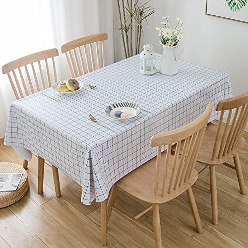 EMPERSTAR manteles Mesa Rectangular Tela Restaurante de PVC Impermeable, a Prueba de Aceite y Anti-Quemaduras de Color Puro White Plaid 140x140cm