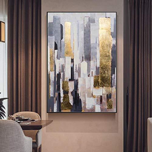Moderne Abstract Schilderij Gouden folie Licht Luxe Woonkamer Villa Model Kamer Enorme Verticale Handgeschilderde Decoratieve Schilderijen 60x90cm Geen Frame