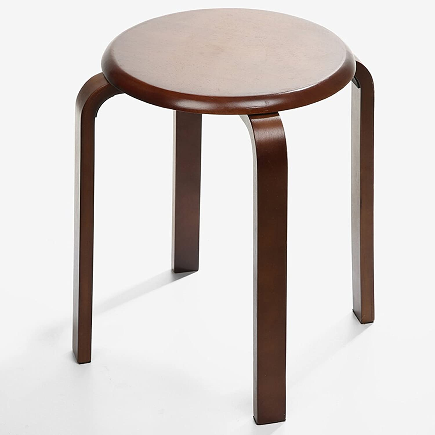 Solid Wood Stool, Rubber Wood Stool Sofa Stool, Stackable Brown Stool Chair (D33  H44CM)