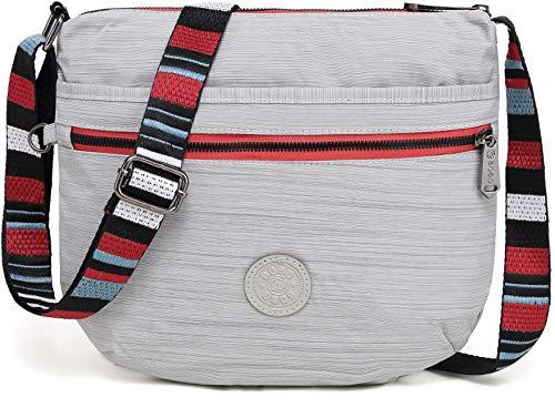 BEKILOLE Crossbody Bags for Women Multi Pocket Shoulder Bag Waterproof Nylon Travel Purses and Handbags Lightweight Work Bag, True Dazz Gray