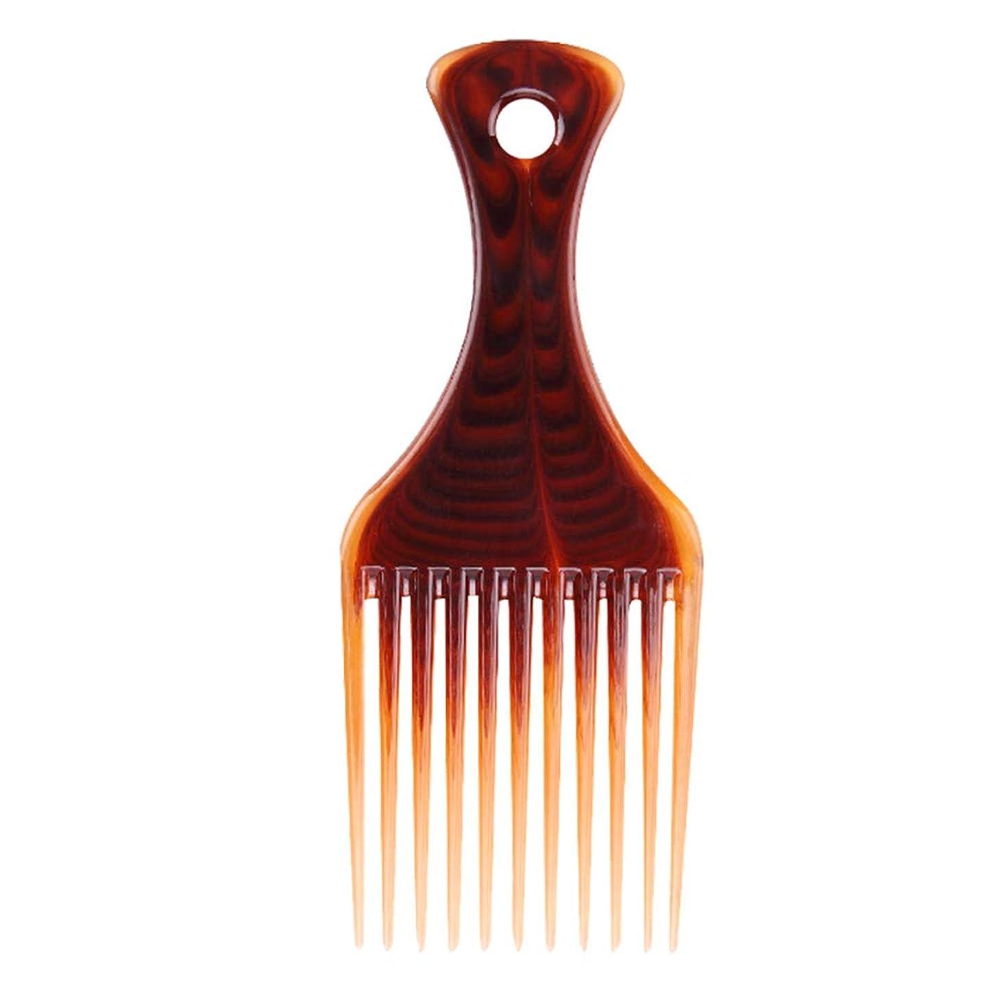 HEALIFTY プラスチックワイドトゥースコームサロン理容理髪ブラシヘアフォークコーム(コーヒー)