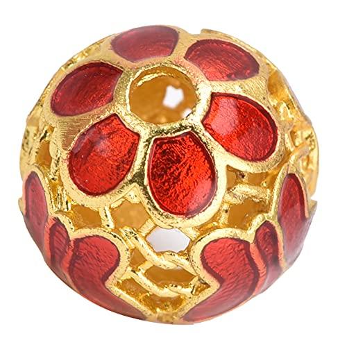 IDWT Cuentas espaciadoras, Cuentas Sueltas Huecas Bricolaje Brillo Exquisito Borde Dorado para Pulsera para Collar para Accesorios con Cuentas(Red)
