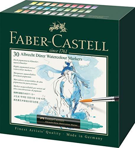 Faber-Castell 160330 Aquarellmarker Albrecht Dürer mit Doppelspitze für flächigen und präzisen Farbauftrag, 30er Etui, bunt