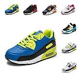 Zapatillas Deportivas Niño Niña Zapatos de Correr Antideslizante Zapatillas Deporte para Niños Cordones Gimnasio Ligero Transpirable Azul 31 EU
