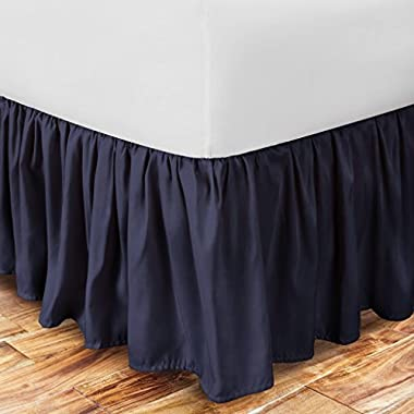 Zen Home Luxury Ruffled Bed Skirt - 1500 Series Luxury Brushed Microfiber w/ Bamboo Blend Treatment - Eco-friendly, Hypoallergenic Dust Ruffle w/ 15  Drop - Twin - Navy